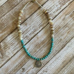 Turquoise & Pearl Antique Coin Necklace NWT